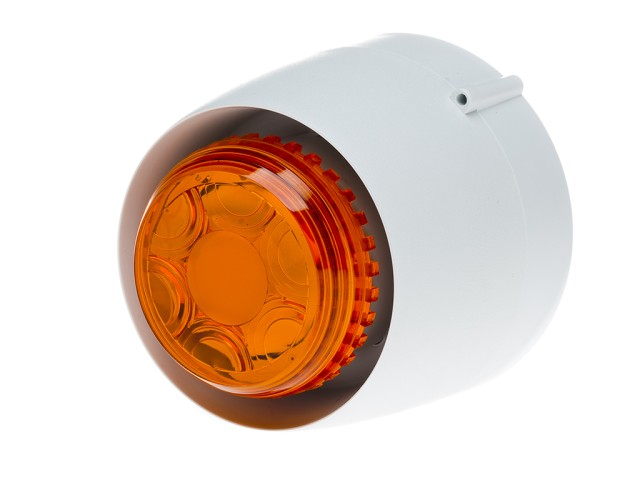 VTB Spatial Sounder/beacon EN54 Approved Shallow White Body Amber Lens
