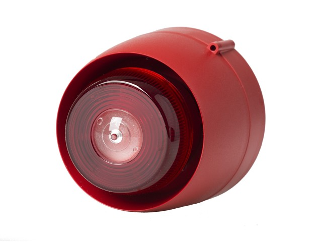 Ceiling Mounted Sounder Beacon, Red, Shallow Base