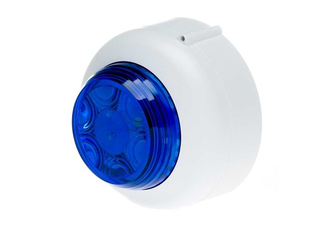 VXB LED Beacon Shallow White Body Blue Lens