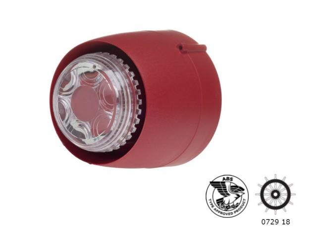 VTB-32EM Shallow mounting base Red Body, Clear Lens
